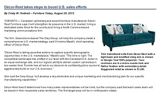 Decor-Rest Takes Steps to Boost Sales in US