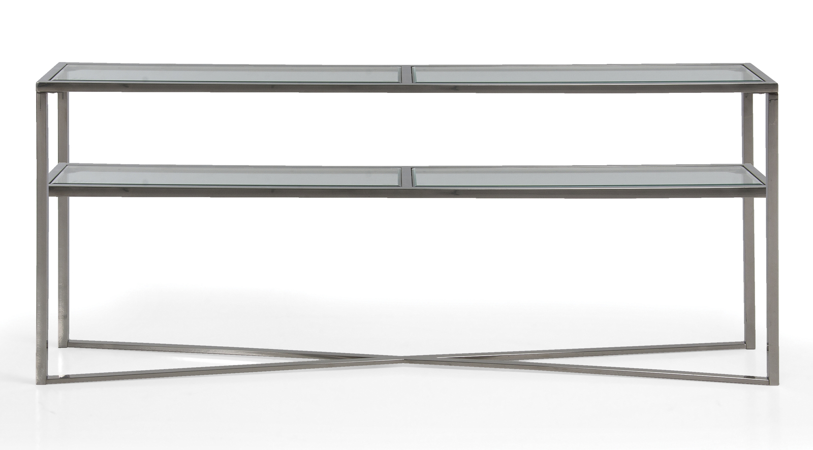 Cross Over Glass Console Table