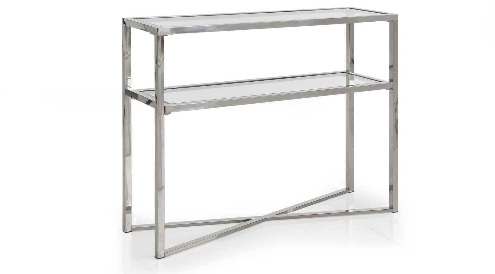 Cross Over Glass Small Console Table